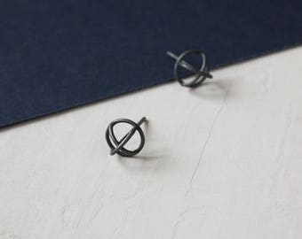 Silver X Earrings / Minimalist stud earrings / Oxidized silver earrings / Geometric earrings / Small silver earring / Gift for women
