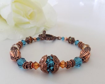 Blue Copper Bracelet Copper Beaded Glass Bracelet  Indicolite Swarovski Crystal Bracelet Gift for Her