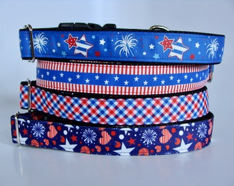 Patriotic Dog Collars- Blue Fireworks and Stars, Stars & Stripes, Red White and Blue Plaid, Navy Fireworks - Hearts and Stars