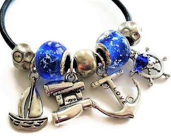 Charm Bracelet Nautical Jewelry Blue Bracelet Boho Jewelry Anchor Bracelet Beach Jewelry Leather Bracelet Everyday Jewelry Silver Bracelet