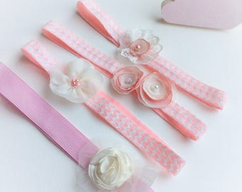 Pink toddler headbands, first birthday gift for toddler girl, pink hair flowers for 1st birthday party, party bag fillers