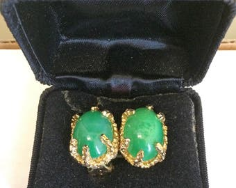 Vintage Panetta Gold Clip Earrings with Jade Stone