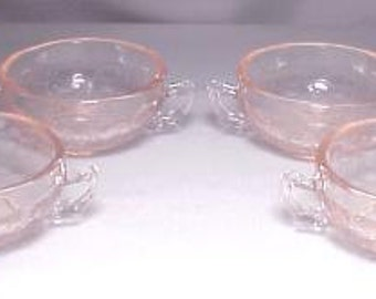 Child's Creme Soups Set of 4 Cameo or Ballerina Pattern in Pink or Yellow  - U-Pick