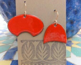 Asymmetrical Earrings with Enamel