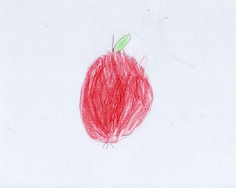 Apple drawing original drawing / illustration of a 7 year old