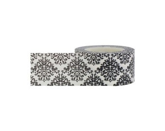 "Black & White Damask Paper Adhesive Tape, 0.98"" (24mm) x 16.4 Yards (15 Meters) Decorations, Gift Wrapping Planners Scrapbooking Card Making"