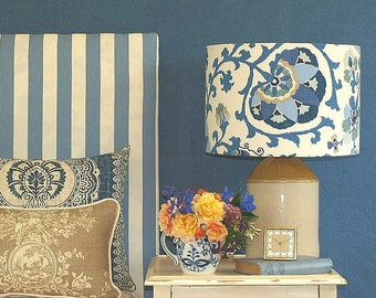 Large Australian Made Lampshade Blue Suzani Style 2 sizes, 2 Fittings Made to Order 1-2 weeks