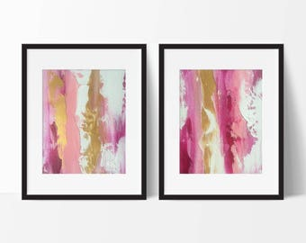 pink abstract art Pink and gold pink abstract paintings gold wall art metallic art magenta abstract painting pink abstract