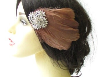 Brown Silver Feather Fascinator Hair Clip Races Diamante Rhinestone 1920s 1407