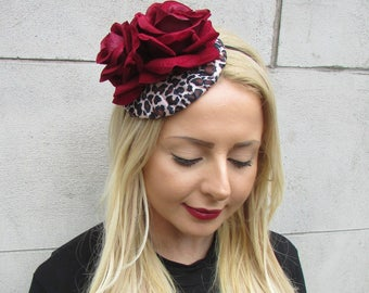 Deep Red Leopard Animal Print Rose Flower Fascinator Rockabilly Headpiece 2313