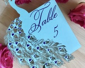 Peacock wedding table number laser cut paper customizable blue purple teal printed ombre