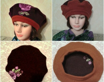 Women double sided beret-Handmade burgundy beret with applique-Maroon reversible beret-Pure felted wool beret-Size M/L-ONE of a Kind.