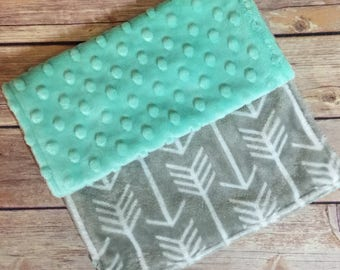 Mint and Gray Arrows Burp Cloth Hunter Set Available Mix and Match  Made to Order, Monogramming Option