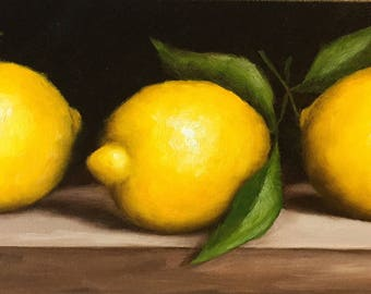 Three Lemons Original Oil Painting ready to hang still life by Jane Palmer