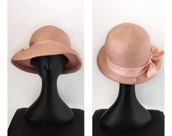 60s Raffia Cloche - Vintage Handmade Pink Hat