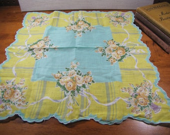 Vintage Ladies Handkerchief - Yellow and Teal - Yellow Flowers - Scalloped Edge
