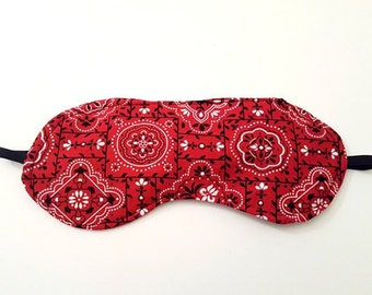 Sleep Mask - Travel Mask - Red Handkerchief - Eye Mask - Sleeping Mask