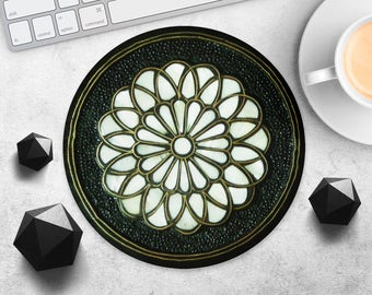 MousePad Gold Flower Mouse Pad Teacher Gift Girl Mouse Mat Black MousePad Geometric MousePad Style MouseMat Desk Accessories Office Supplies
