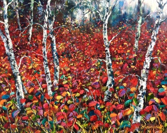 "Cirque, 16"" x  20"", Original Oil Landscape Painting by Stephanie Siemieniuk, fine art, Red Series No. 37, autumn, birch trees, fantasy"