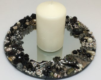 Jewelled mirror candle plate