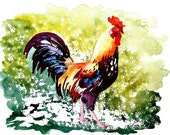 Digital Download, Rooster Art Chicken - Watercolor Painting Art Print - Fall home decor and wall art