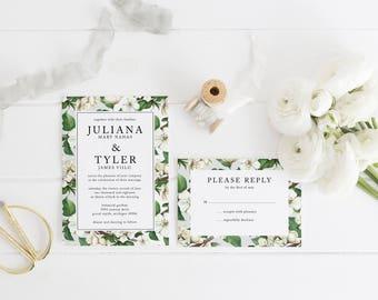 "Digital Printable Wedding Suite | Watercolor Wedding Invitation | Floral Wedding Invitation | ""Apple Blossom"""