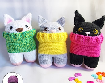 PRE-ORDER / custom bipedal cat amigurumi with jersey (hand-knitted crochet)