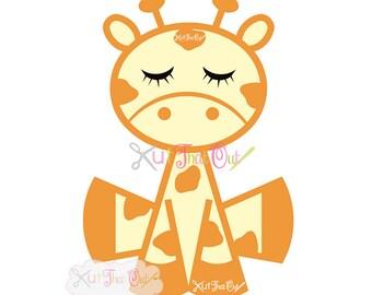 EXCLUSIVE Sleepy Giraffe SVG & DXF Cut File