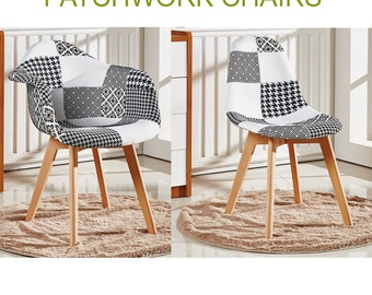 Patchwork Scandinavian Chair Modern Living Room Dining Room Chair Mid Century Design Eames Style With Arms OR without Arms EAMES