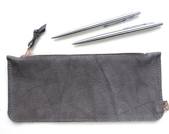 """upcycled pencil case grey leather copper, vintage artists organiser, sketchbook case, leather pen case, beauty case recycled leather """"Tikka"""""""