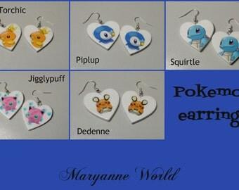 Pokemon earrings - pokemon - pokemon go - cute - jewels - squirtle - torchic - jigglypuff - piplup -  dedenne -