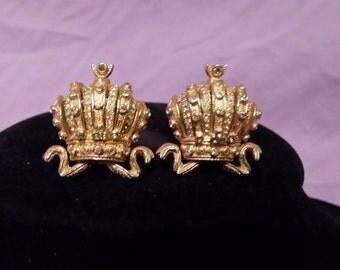 Crown Rhinestone Earrings by Nettie Rosenstein