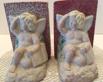 Cherub Bookends ~ Stone Bookends ~ Two Bookends~ Shabby Chic ~ Vintage
