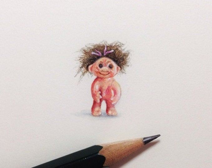 """Print of miniature painting of a Troll. 1 1/4""""x1 1/4"""" print of original Troll painting on 5"""" square german etching paper"""