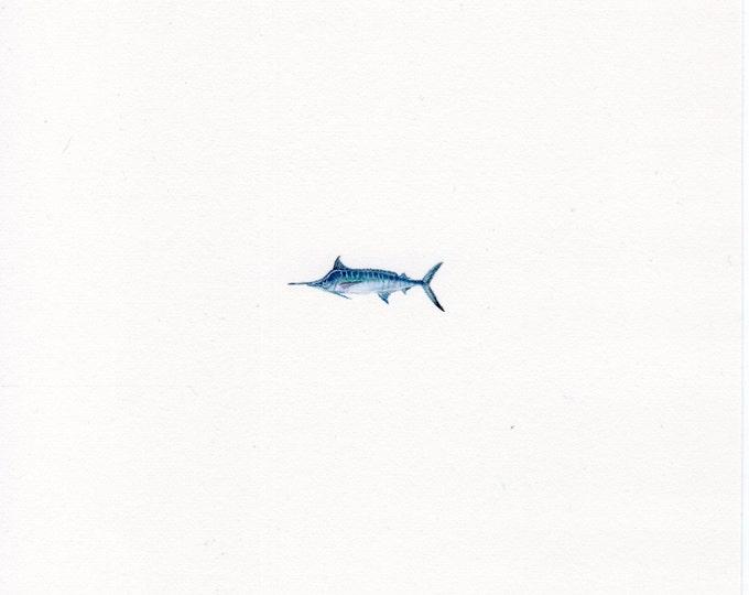 Original Miniature painting of a Blue Marlin. Tiny painting, Blue Marlin art 5 x 5