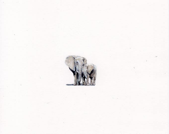 "Print of miniature painting of an Elephant & Baby .  1 1/4"" x 1 1/4"" print of original Elephants painting on 5"" square german etching paper"