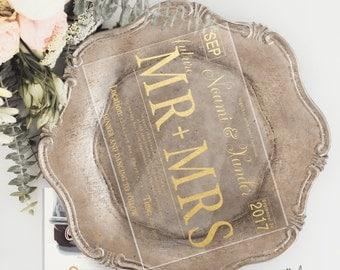 Gold Foil License Plate Acrylic  Wedding Invitations