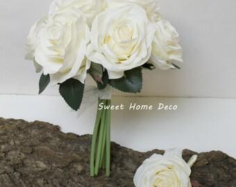 JennysFlowerShop 8''W Silk Rose Wedding Bouquet Bridal Bouquet Bridesmaid Bouquet Boutonniere Colorful Roses Ivory