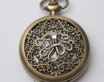 Steampunk pocket WATCH,Octopus pocket watch Necklace Sea Animal Nautical Necklace, Charm pocket watch Pendant