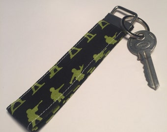 Toy Soliders Fabric Wristlet Key Fob, wristlet, keychain, keyring, key holder. Made in Cornwall.