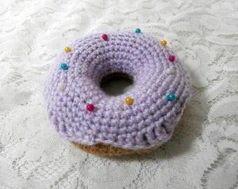 Donut Pincushion - Purple Lilac Crochet Doughnut Iced Rainbow Sprinkles Bun Pin Cushion with Pins - Knit Cake Needle Sewing Organsier Gift