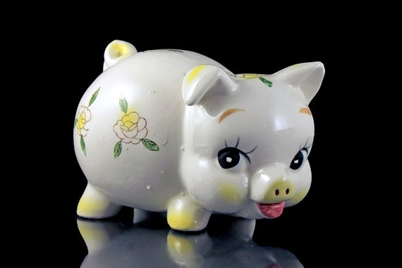 Ceramic Piggy Bank, Coin Bank, Ivory Color, Yellow Floral, Made in Japan, Yellow Nose Piggy Bank, Hand Painted, Nursery Decor, Collectible