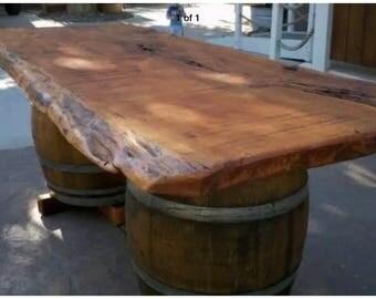 Live edge Bespoke Garden table 7ft x 3ft slab wood whiskey/wine barrel