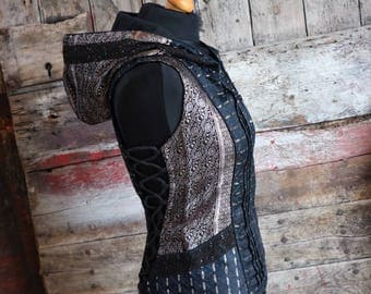New! S-M, WATER MATRIX , Kala Corset jacket, Hooded, Jacket, Silk, Tribal, Burning Man, Steam Punk, Bohemian, Urban, Burlesque, Steam Punk