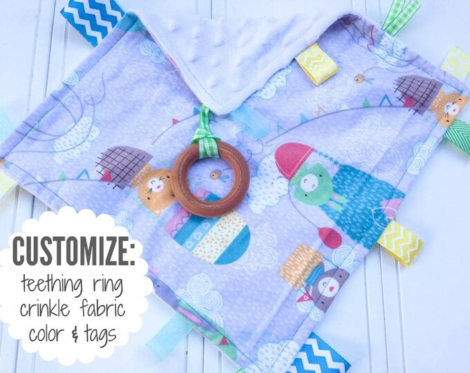 Baby Sensory Tag Blanket | Options: Natural Teething Ring, Crinkle Material, Color | Animals in Hot Air Balloons
