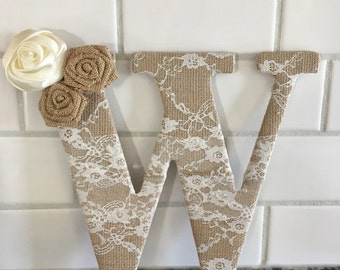 Burlap decor - baby shower - baby girl - Burlap and lace - lace burlap letter - vintage decor - bridal shower - baby shower - shabby chic
