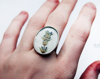 "Silver ring with real flowers ""Lavender"" / Vintage silver ring / antique style ring / ring large / lavender ring"