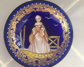 Bohemian Glass Cobalt Blue Hand Painted Trinket Dish
