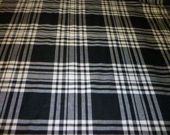 Menzies Black & White Tartan Fabric Made in Scotland 100% Wool By The Metre