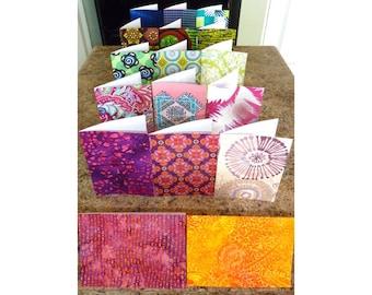 Wedding invitations,  birthday and holiday cards in beautiful fabrics